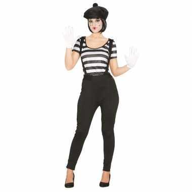 Originele mime speler/clown verkleedcarnavalskleding dames