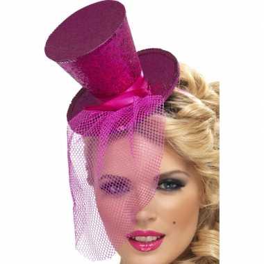 Originele mini hoedje roze haarband carnavalskleding