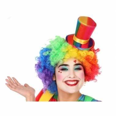 Originele mini hoge clownshoed verkleed accessoire volwassenen carnav