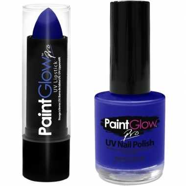 Originele neon blauwe uv lippenstift/lipstick nagellak schmink set ca