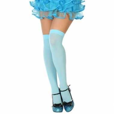 Originele neon blauwe verkleed kousen dames carnavalskleding