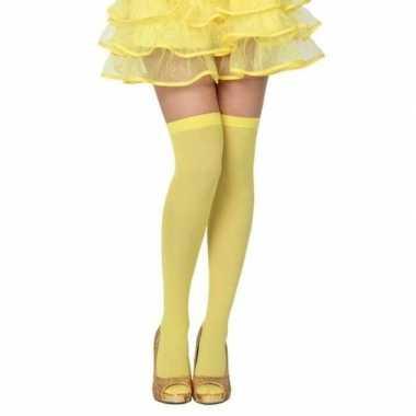 Originele neon gele verkleed kousen dames carnavalskleding