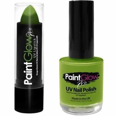 Originele neon groene uv lippenstift/lipstick nagellak schmink set ca
