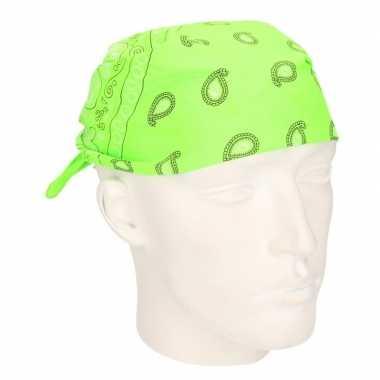 Originele neon groene zakdoek bandana carnavalskleding