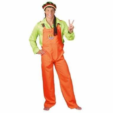 Originele neon oranje tuinbroek volwassenen carnavalskleding