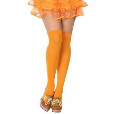 Originele neon oranje verkleed kousen dames carnavalskleding