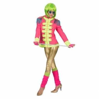 Originele neon roze circus directeur jas dames carnavalskleding