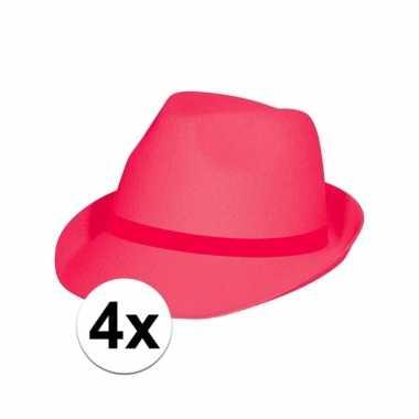 Originele neon roze hoeden volwassenen stuks carnavalskleding
