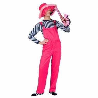 Originele neon roze tuinbroek volwassenen carnavalskleding