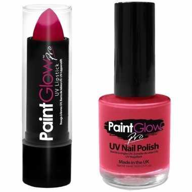 Originele neon roze uv lippenstift/lipstick nagellak schmink set carn