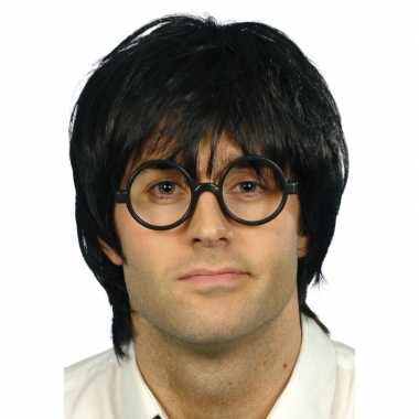 Originele nerd bril zwarte pruik heren carnavalskleding