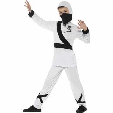 Originele ninja carnavalskleding wit/zwart kinderen