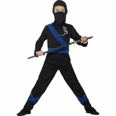 Originele ninja carnavalskleding zwart/blauw kinderen