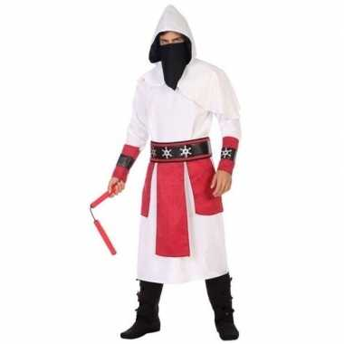 Originele ninja vechter verkleed carnavalskleding wit/rood heren