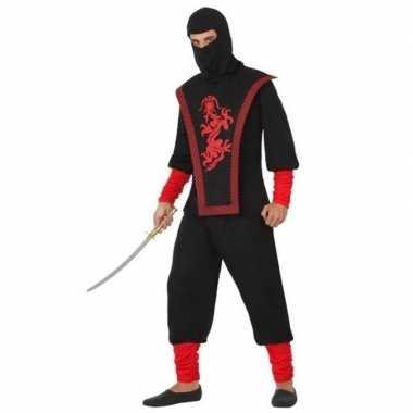Originele ninja vechter verkleed carnavalskleding zwart/rood heren