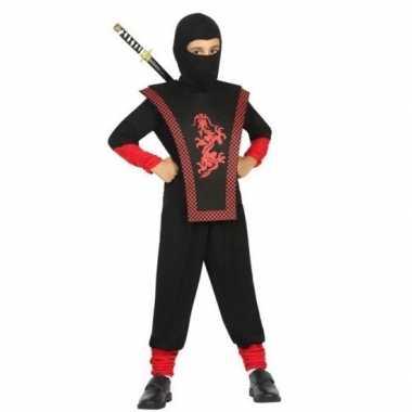 Originele ninja verkleed carnavalskleding zwart/rood jongens