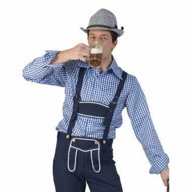 Originele oktoberfest blauw/wit geruit tiroler verkleed overhemd here