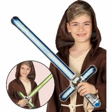 Originele opblaasbaar laser zwaard groen carnavalskleding