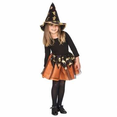 Originele oranje heksenset meisjes carnavalskleding
