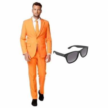 Originele oranje heren carnavalskleding maat (xxl) gratis zonnebril