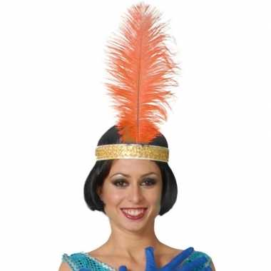 Originele oranje pauwenveer charleston/jaren verkleed accessoire carn