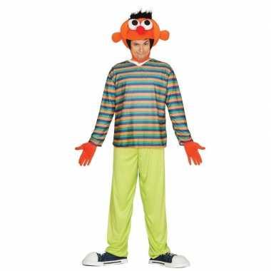 Originele oranje pop ernie verkleed carnavalskleding heren