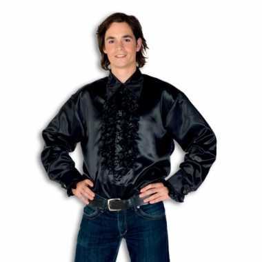 Originele  Overhemd zwart rouches heren carnavalskleding