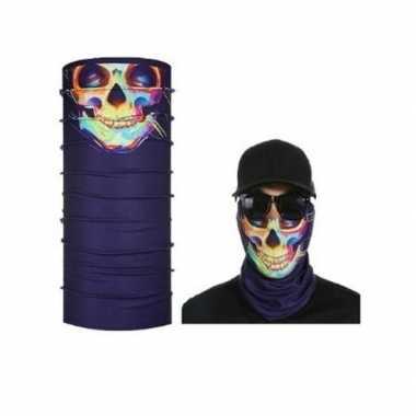Originele paars biker masker gekleurd skelet volwassennen carnavalskl