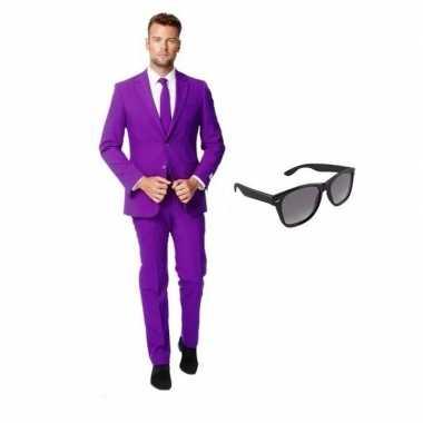 Originele paars heren carnavalskleding maat (l) gratis zonnebril