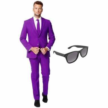 Originele paars heren carnavalskleding maat (xxl) gratis zonnebril