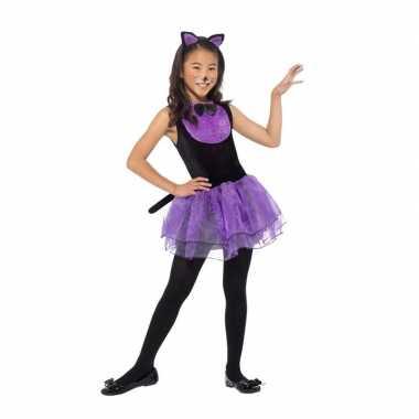 Originele paars/zwarte kat/poes carnavalskleding meiden