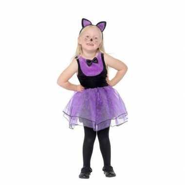 Originele paars/zwarte kat/poes carnavalskleding peuters