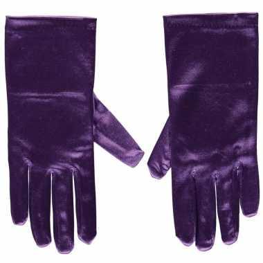 Originele paarse gala handschoenen kort satijn carnavalskleding