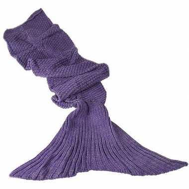Originele paarse gebreide zeemeermin deken volwassenen carnavalskledi
