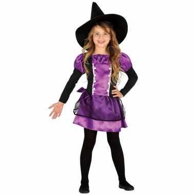 Originele paarse heks carnavalskleding bow witch kinderen