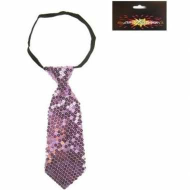 Originele paarse korte stropdas pailletten carnavalskleding