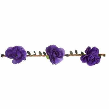 Originele paarse rozen festival/hippie haarband dames carnavalskledin