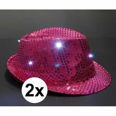 Originele pailletten trilby hoeden roze led light stuks carnavalskled