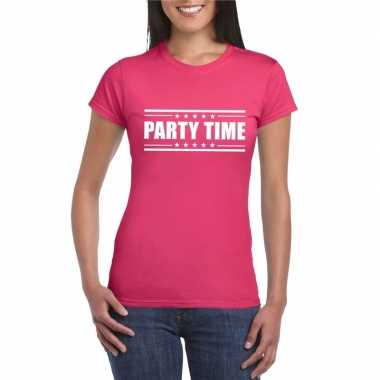 Originele party time t shirt fuscia roze dames carnavalskleding