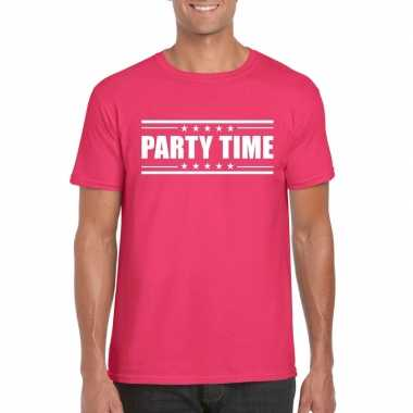 Originele party time t shirt fuscia roze heren carnavalskleding