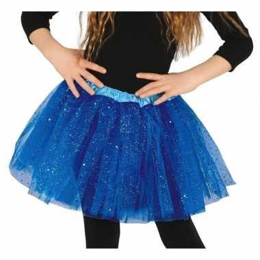Originele petticoat/tutu verkleed rokje kobalt blauw glitters meisje