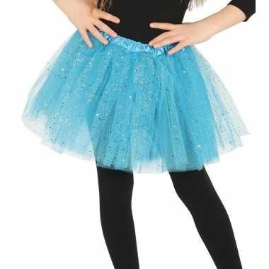 Originele petticoat/tutu verkleed rokje lichtblauw glitters meisjes c