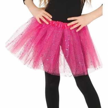 Originele petticoat/tutu verkleed rokje roze glitters meisjes carnava