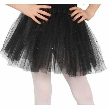 Originele petticoat/tutu verkleed rokje zwart glitters meisjes carnav