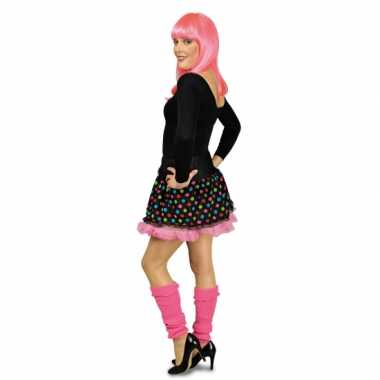 Originele petticoat zwart roze stippen carnavalskleding
