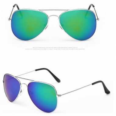 Originele pilotenbril zilver blauw/groene glazen volwassene carnavals