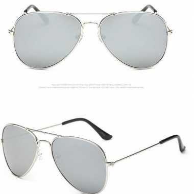 Originele pilotenbril zilver lichte glazen volwassenen carnavalskledi