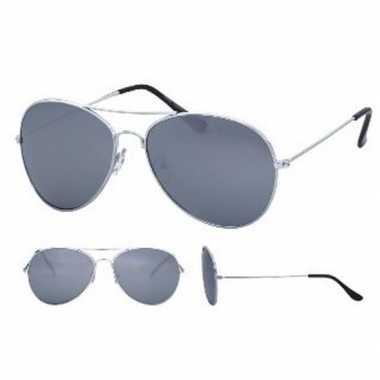 Originele pilotenbril zilver spiegel glazen volwassenen carnavalskled