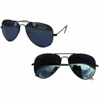 Originele pilotenbril zwart donkere glazen volwassenen carnavalskledi