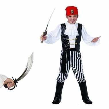 Originele piraten carnavalskleding maat s zwaard kids